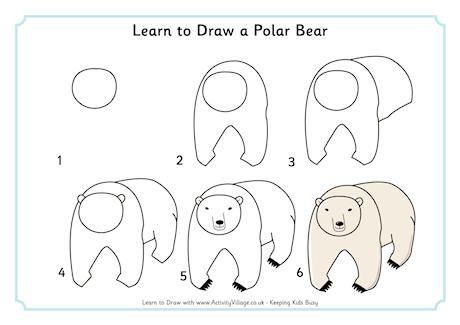 how to draw polar bear for kids