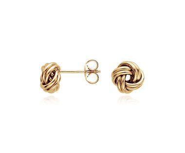 Blue Nile Textured Love Knot Earrings in 14k Yellow Gold UzwcyY