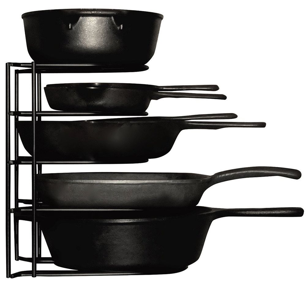 tier pots pans cast iron lids organizer storage black kitchen