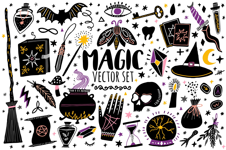 Magic vector set. Witchcraft icons Graphic design
