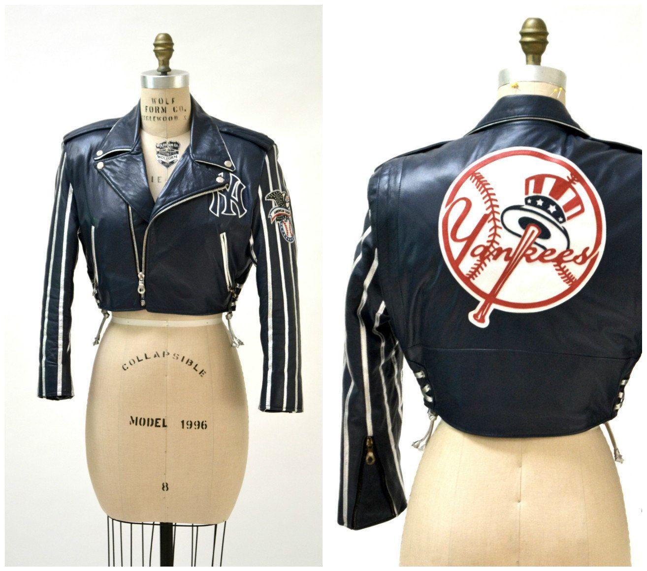 Vintage Leather Jacket New York Yankees Motorcycle Jacket By Etsy Vintage Leather Jacket Beautiful Jacket Vintage Leather [ 1160 x 1314 Pixel ]