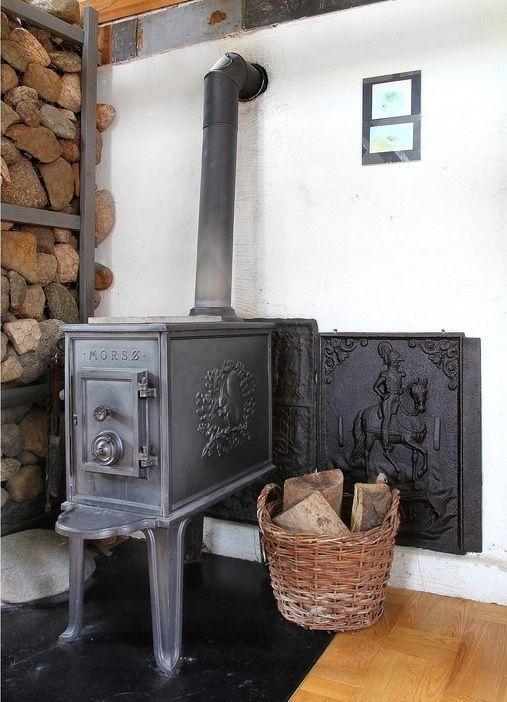 Old Morso 1b Wood Stove Gietijzer Gietijzeren Pannen Cement