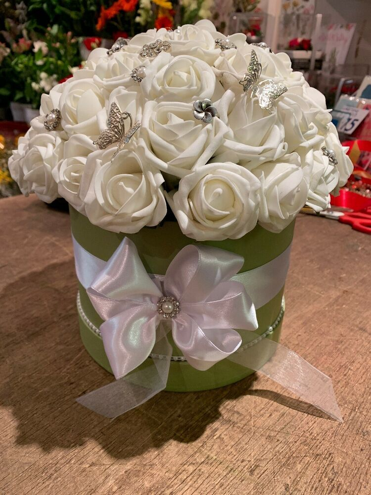 c293848b894 Artificial Flowers Forever Foam Roses Display Hat Box Valentines ...