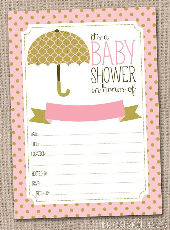 Pink And Gold Baby Shower Invitation Instant Printable Pdf For S Showers