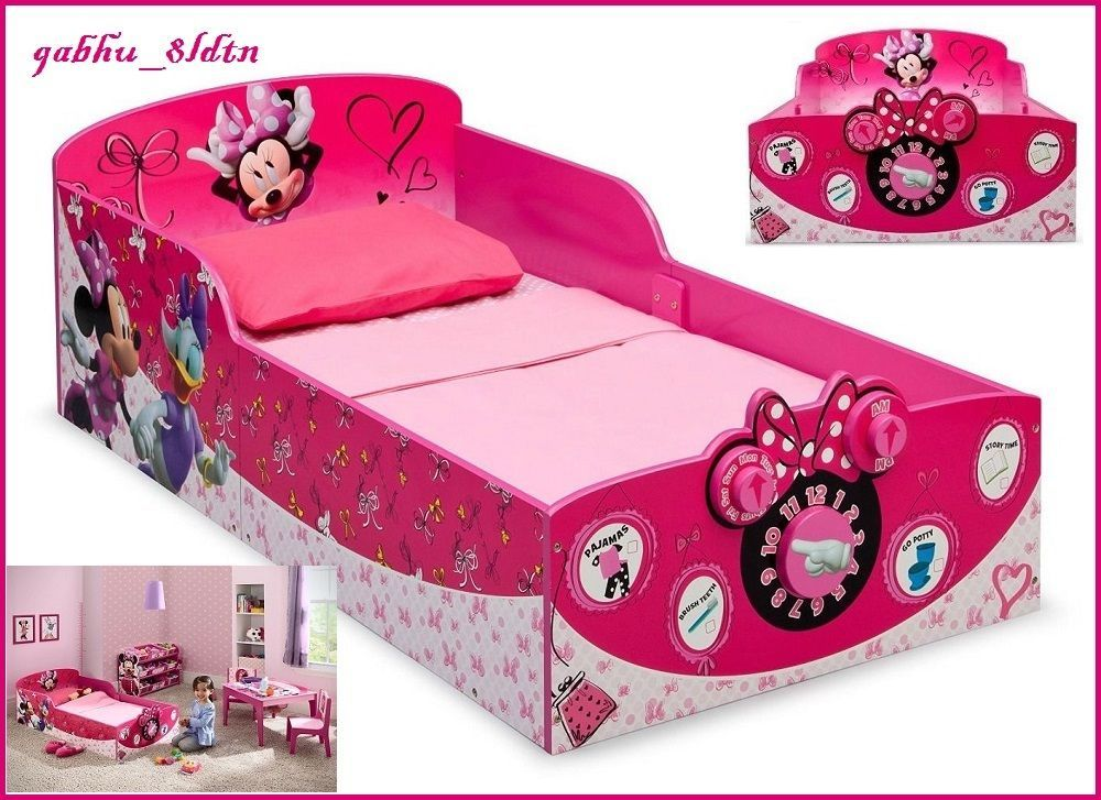 Interactive Wood Toddler Bed Minnie Mouse Kids Disney Bedroom Furniture Pink