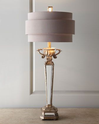 I have a lamp base similar to this. I would love to add this modern shade to it! Horchow Mirrored Table Lamp.