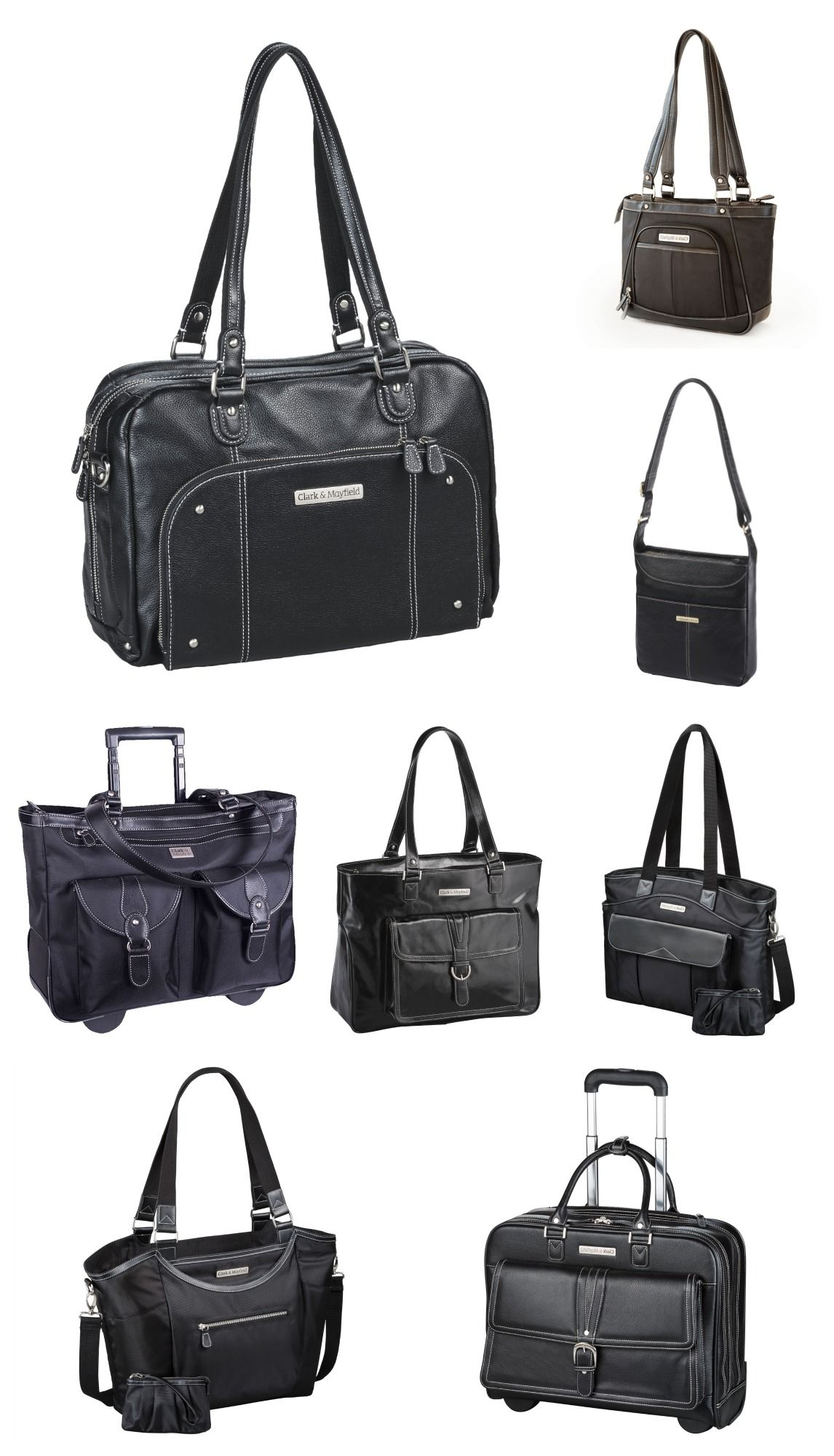 Stylish and functional carry-all laptop and tablet bags for women - Clark &  Mayfield collections pictured in black