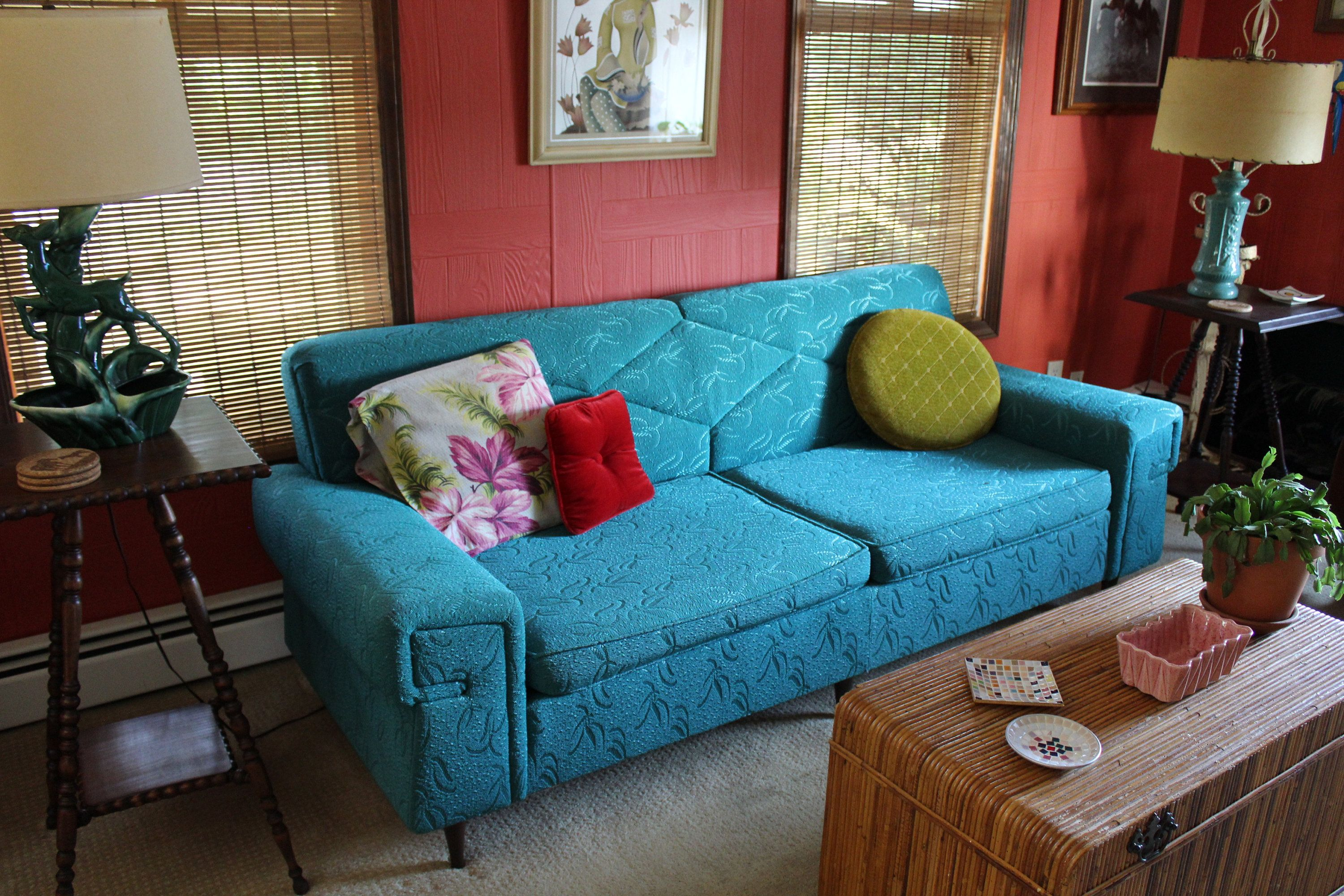 Midcentury Turquoise Couch Like New Condition Original