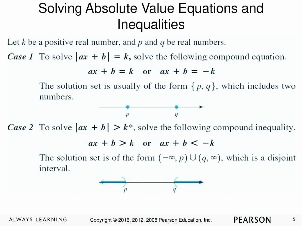 Absolute Value Inequalities Worksheet Answers New Solving Absolute Value Equations Workshee In 2020 Absolute Value Inequalities Absolute Value Absolute Value Equations