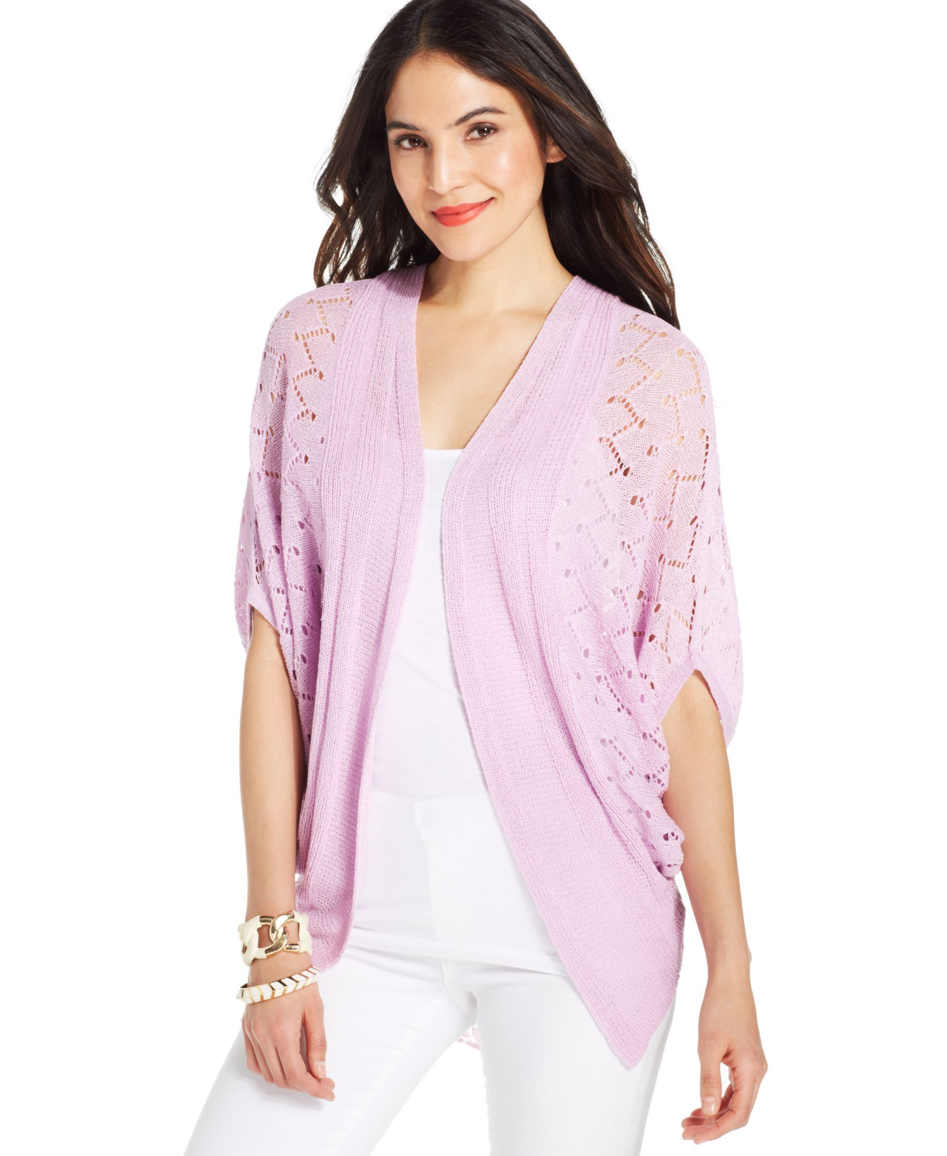 Ny Collection Pointelle-Knit Lace-Back Cardigan | Cardigans For ...