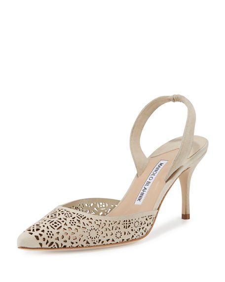 5dec0783ce MANOLO BLAHNIK Carolyne Laser-Cut Mid-Heel Halter Pump, Bone. #manoloblahnik  #shoes #