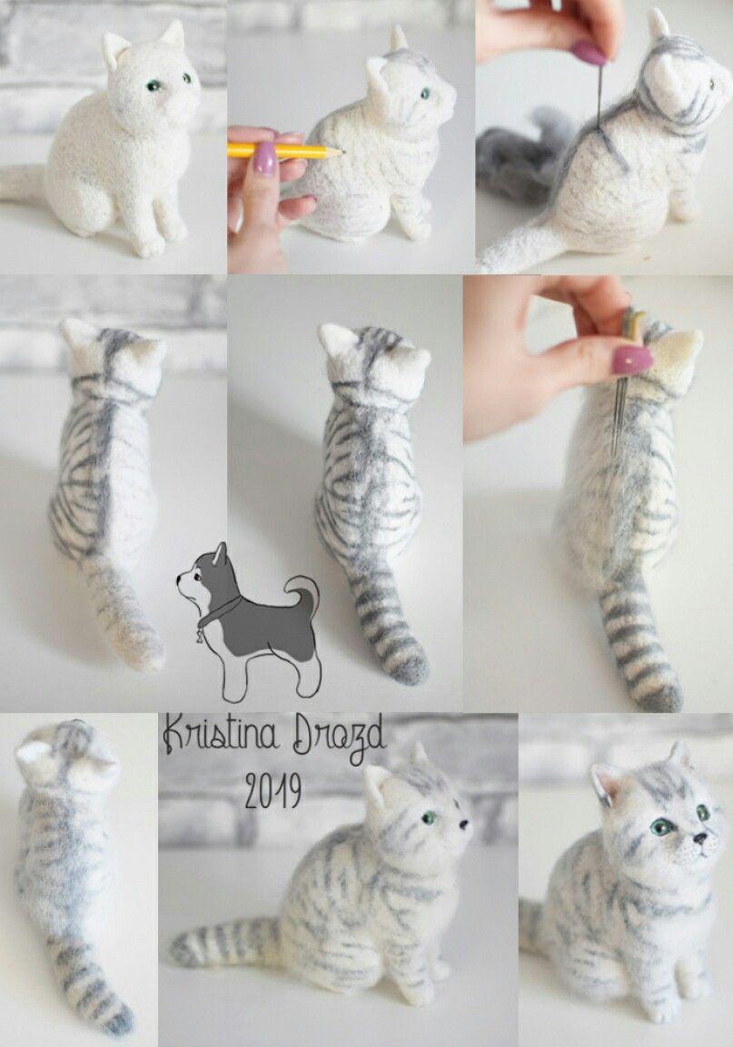 Tutorials needle felted cat ( strips ) #needlefeltedcat