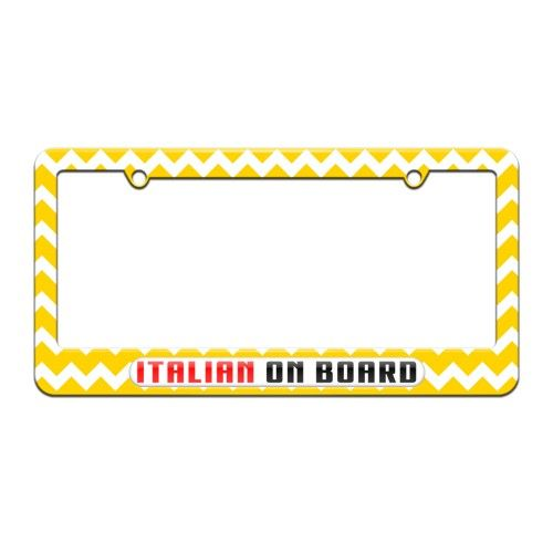 Italian On Board - Italy - License Plate Tag Frame - Yellow Chevrons ...