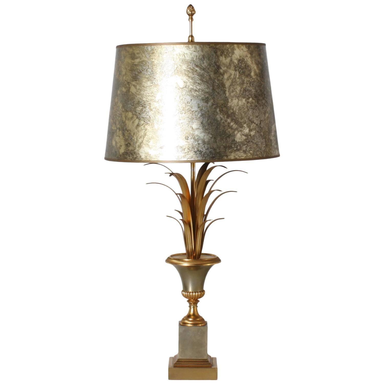 Maison Charles Wheat Lamp With Original Metal Shade Circa 1950 Lamp Metal Shades Table Lamp Lighting