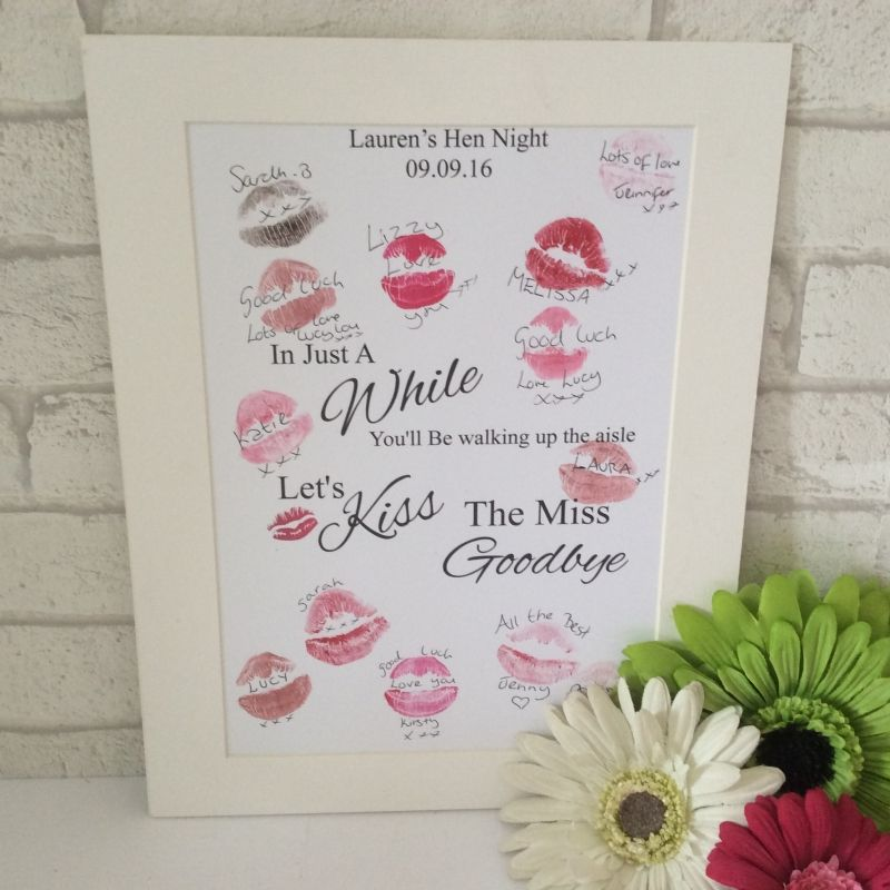 alternative guest book A4 Personalised Hen Party Bride To Be Kiss The Miss