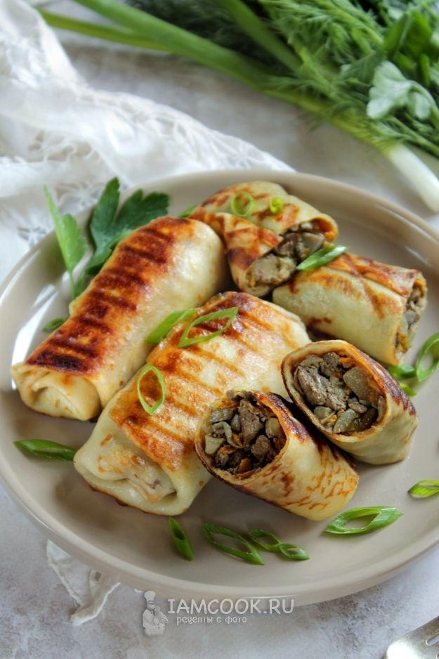 Блины на сыворотке с начинкой (печень+грибы) | Рецепт ...