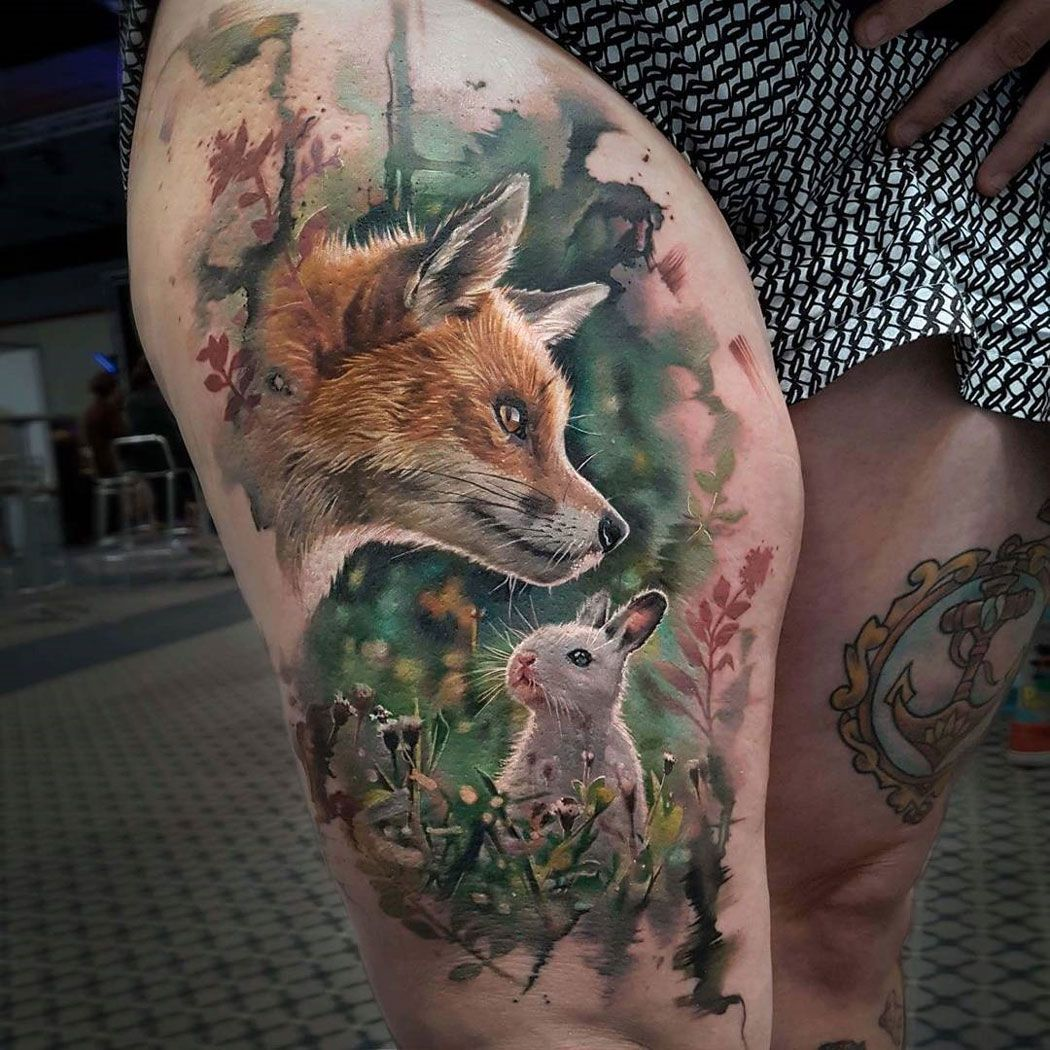 Fox Rabbit Realistic Thigh Piece Best Tattoo Design Ideas Animal Tattoo Rabbit Tattoos Animal Tattoos