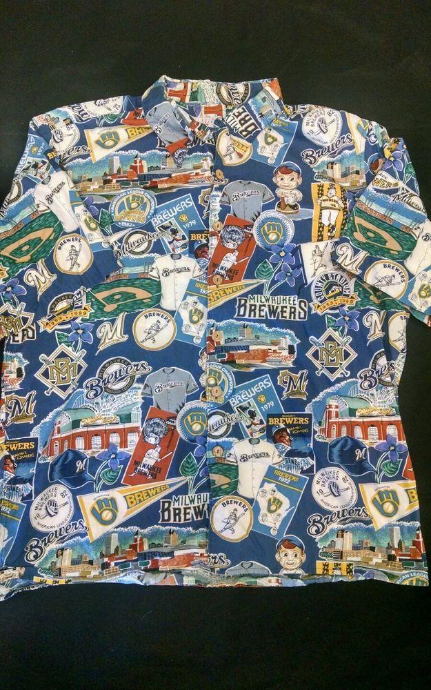 066d2b56e Reyn Spooner Hawaiian Milwaukee Brewers Shirt XL Made in Hawaii  #ReynSpooner #Hawaiian