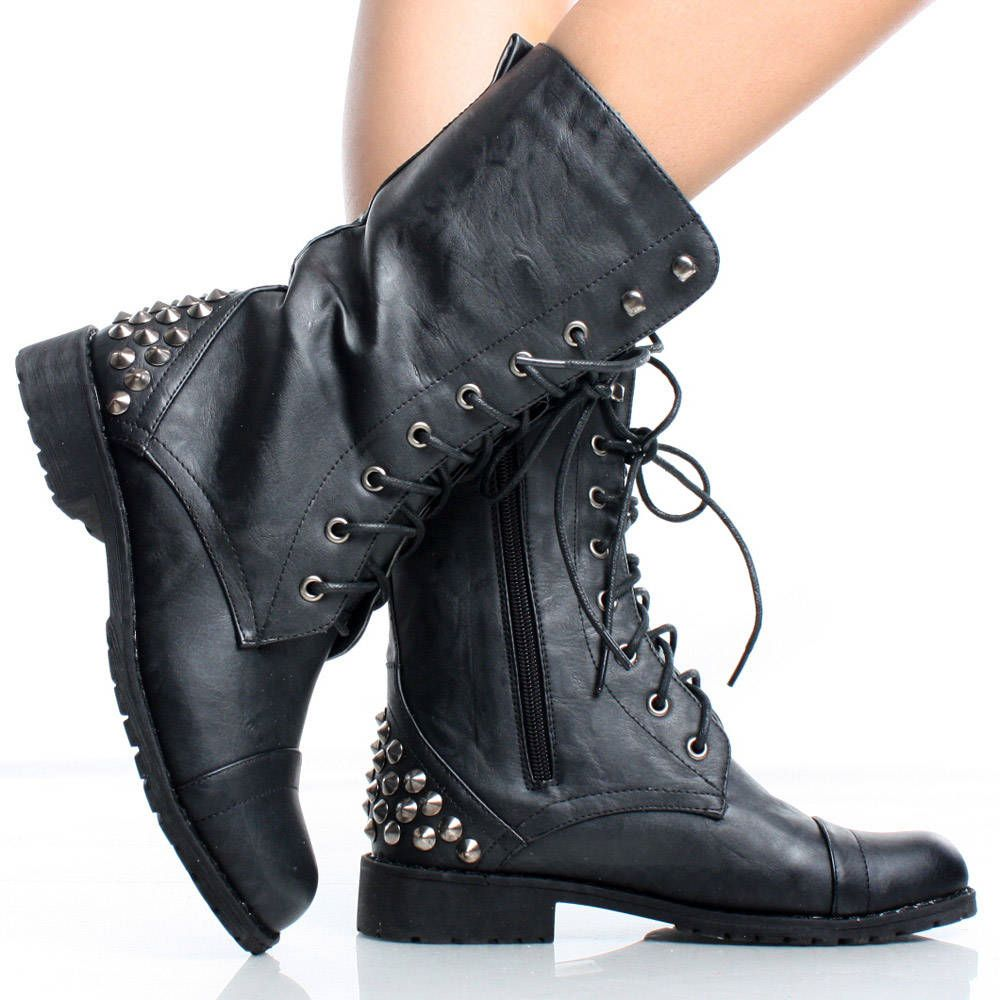 Black Punk Spike Studded Lace Up Combat Womens Flat Mid Calf Boots ...