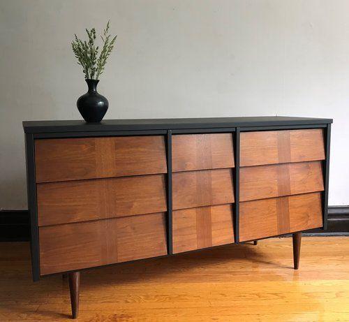 Best Refinished Mid Century Modern Dresser In Matte Black Mid 400 x 300