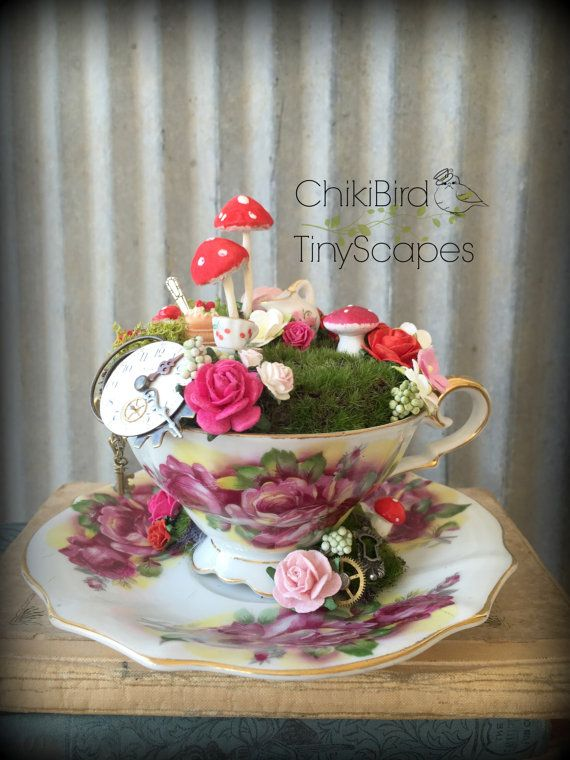 Tea cup garden fairy tea cup alice in wonderland by chikibird chikibird tinyscapes tea cup for Alice in wonderland fairy garden