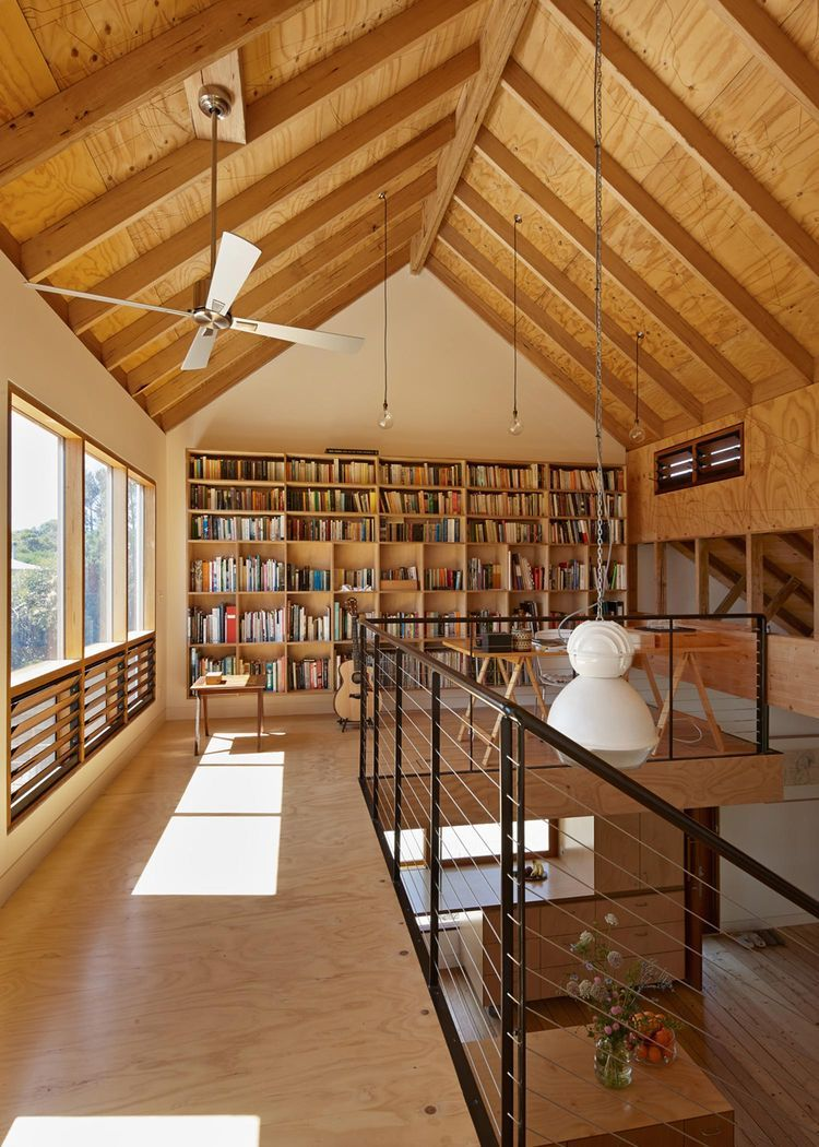 Contemporary Home Library Design: Modern Library In Australian Home.