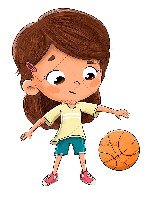 Little Girl Playing Basketball Boy Cartoon Drawing Cartoon Cartoon Drawings