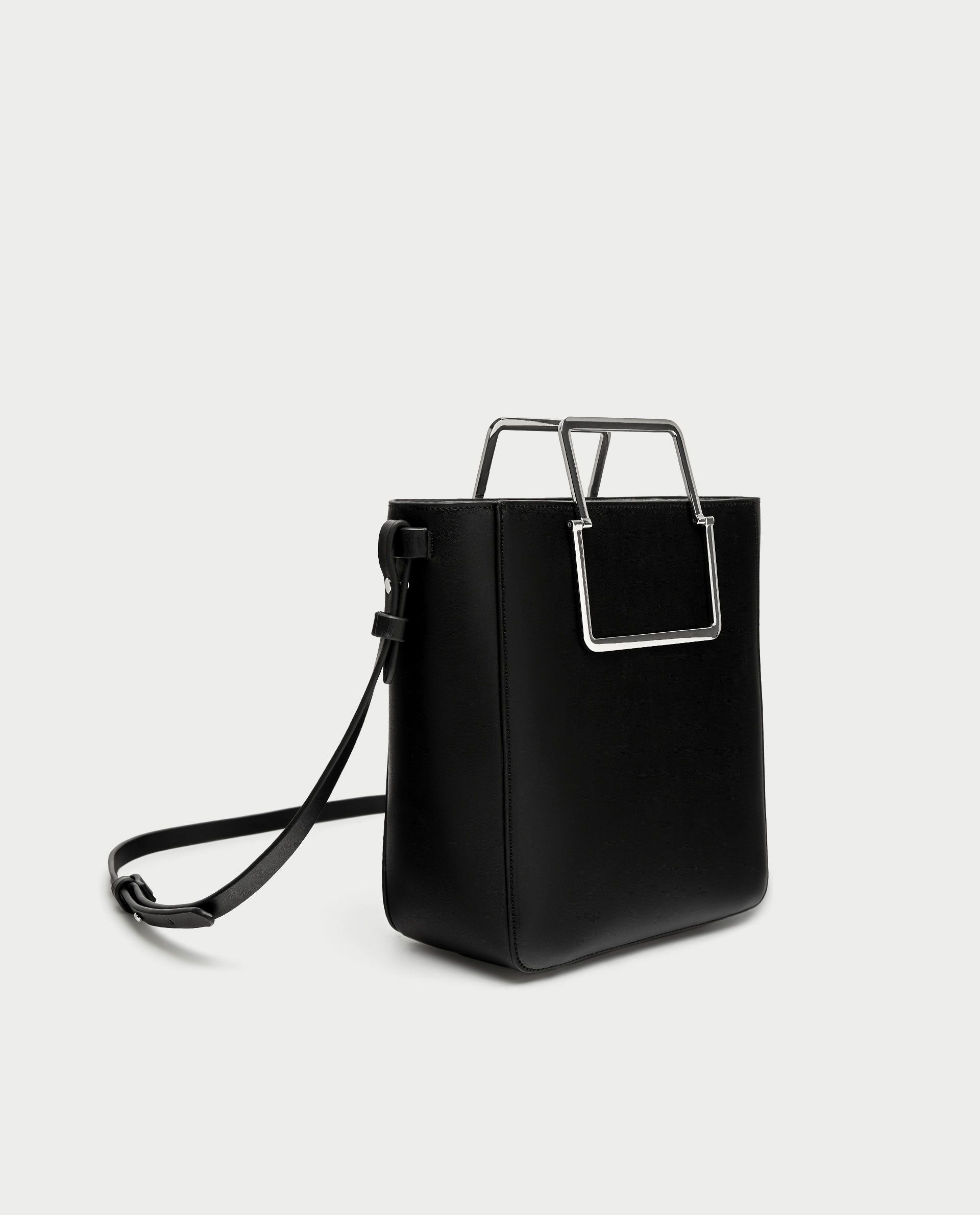 25c02ae43a MINI TOTE BAG WITH SQUARE METAL HANDLES from Zara | handbags in 2019 ...
