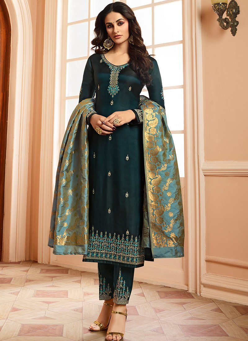 02358e11a5 Teal Straight Suit with Banarasi Dupatta | Women's fashion in 2019 ...