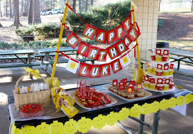 cute simple yellow and red table scape for lego birthday