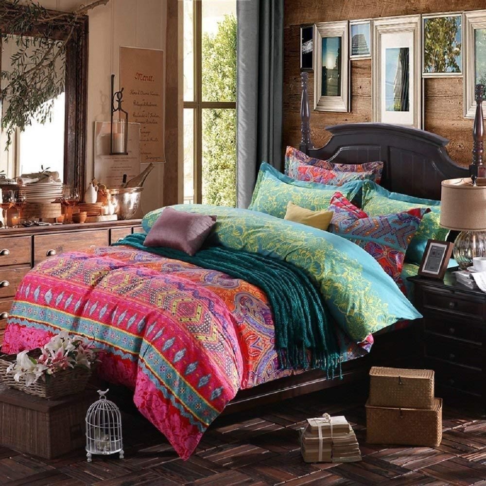 Best 3Pcs Colorful Boho Bedding Set Bohemian Duvet Covers 400 x 300