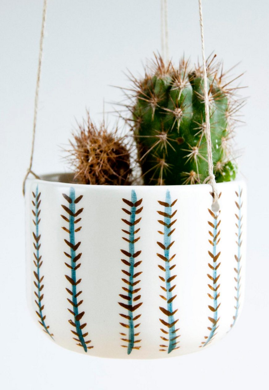 Ceramic hand-painted hanging planter  handmade succulent gardening gift ceramic plant hanger indoor /& outdoor planter for cactus
