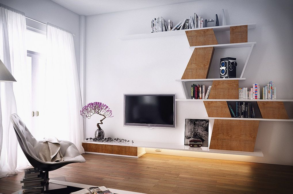 Screen Flat Tv Placed Between Beautiful Bonsai Plant And Bookshelf Screen Modern Bedroom