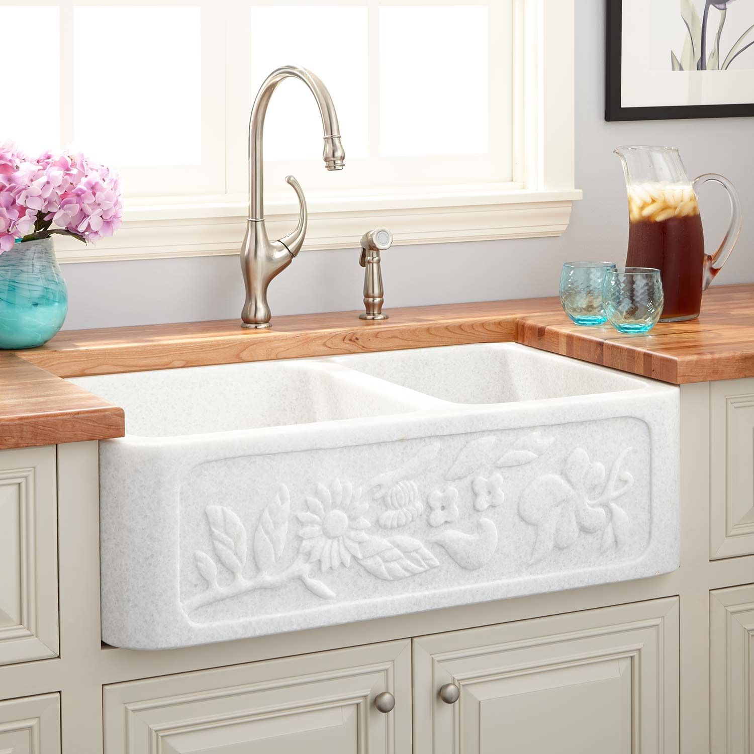 33 Ivy 70 30 Offset Double Bowl Polished Marble Farmhouse Sink