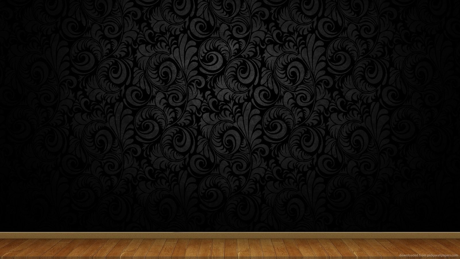 Clean black wall with wooden floor Background Wooden