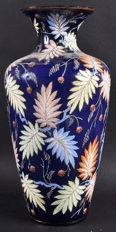 "A ""MOSER"" BLUE GLASS VASE enamelled with coloured leave : Lot 1110"