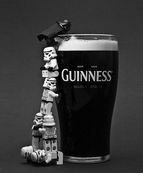 Lego storm troopers help Darth Vader get to the Guinness.