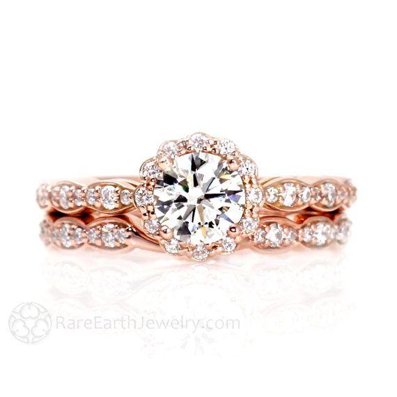 Moissanite Engagement Ring Wedding Set Band Diamond Halo Conflict Free 14K Rose Gold