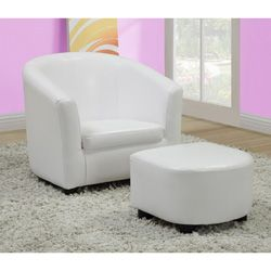 White Leather Look Juvenile Chair / Ottoman Set. So Cutei Just Ordered This  For