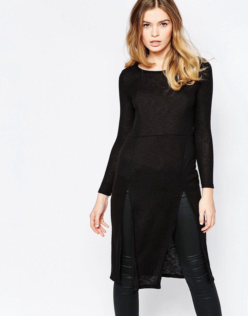 f4107e65ee64 Super lækre Vero Moda Long Sleeve Jumper Midi Dress - Black Vero Moda Kjoler  til Damer til hverdag og fest