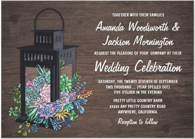 Lantern and Succulents Wedding Invitations #cactusweddinginvitations #succulentweddinginvitations #rusticweddinginspiration