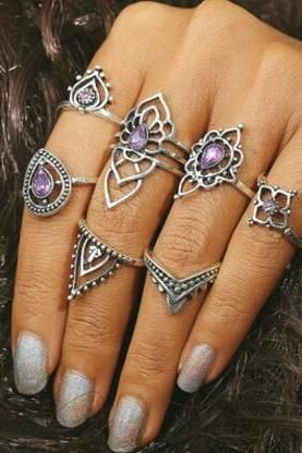 e6ae3989aa Purple Restoring Ancient Ways Crystal 7 Pieces Of Each Ring Set ...