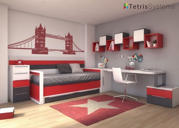 Dormitorio con cama deslizante para dos personas - Dormitorios con dos camas ...