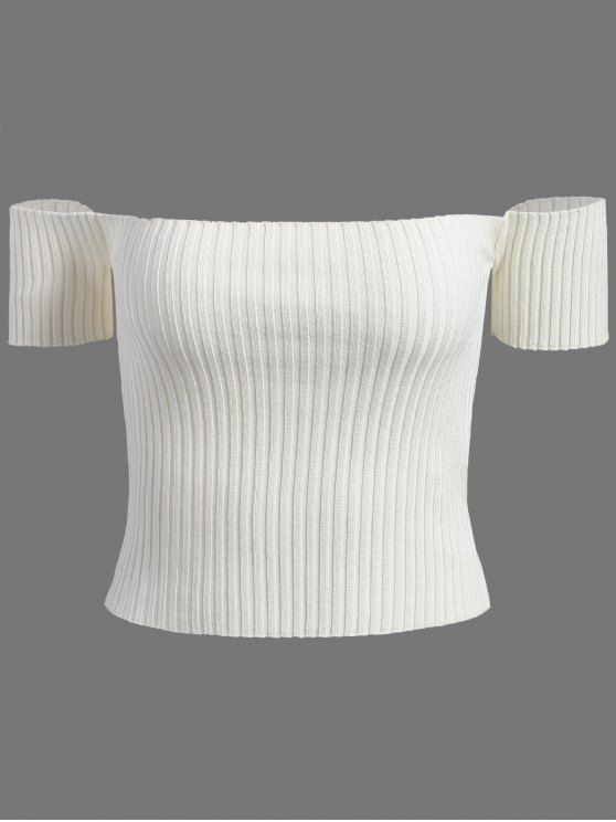 3b6456c5dd655 Off The Shoulder Rib Knit Crop Top - WHITE ONE SIZE Mobile