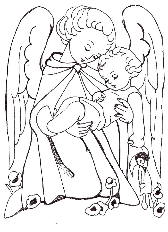 Guardian Angel Coloring Page Paginas Para Colorir Pintura De