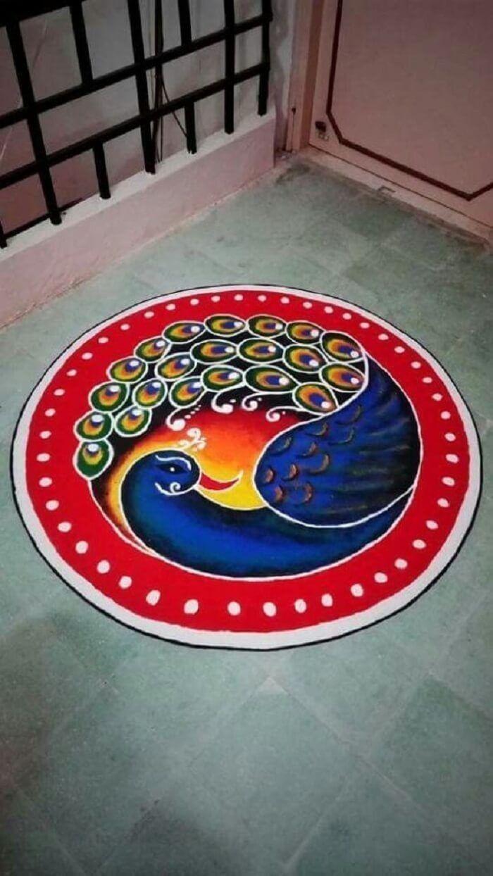 Peacock rangoli in 2020 Simple rangoli designs images