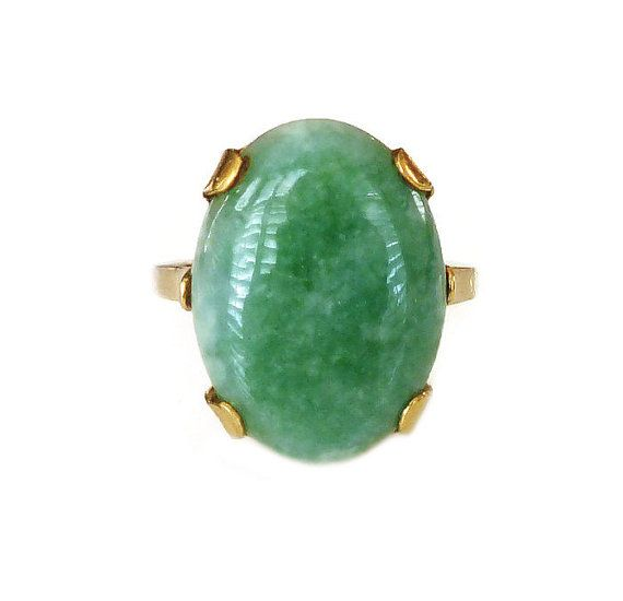 Clark and Coombs Ring Jade Jadeite 10K Gold by zephyrvintage