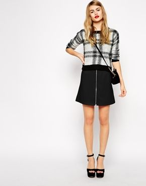 ASOS A-Line Mini Skirt in Crepe with Zip Front