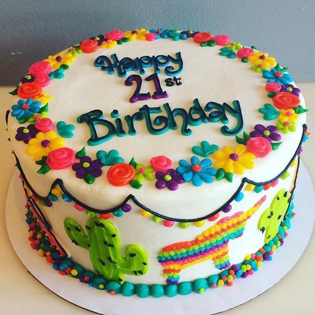 Prime Bright Fiesta Birthday Cake Hayleycakesandcookies Decoratoranna Funny Birthday Cards Online Elaedamsfinfo