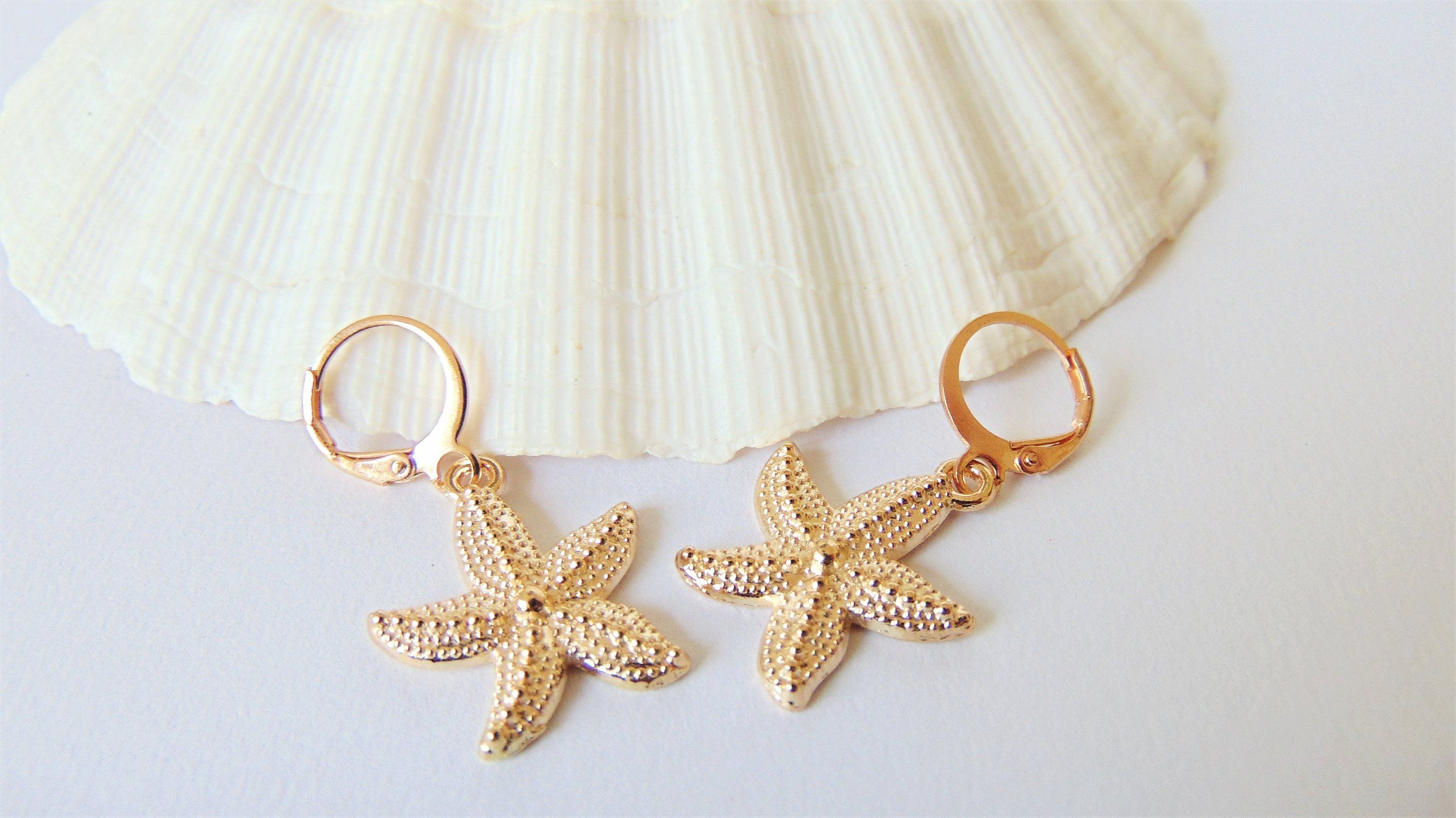a41b67c36 Starfish Earrings - Rose Gold sea creature charms on round lever back  hoops, Modern Mermaid